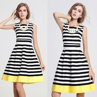 Wholesale Different Designs Lady Casual O-neck Sleeveless Stripe Casual Dress EU000391