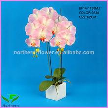 venta al por mayor nuevo 2014 62cm diseño decorativo en maceta de flores artificiales orquídeas