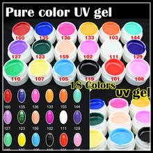 Yimart Latest 2014 Wholesale 18 Pure Colors UV Gel,Soak Off Cover Color Gel 5ml