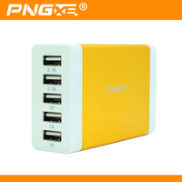 PNGXE wholesale new design super fast charging 5V 7A multiple port universal 5 usb travel wall charger for mobile phone