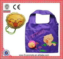 custom logo cat shape foldable gift bags 190T polyester folding smiling face shopping bag recycle tote bag