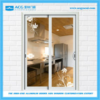 double glass sliding door for kichen with 2 tracks