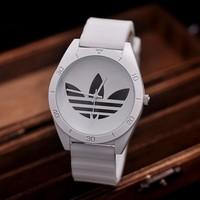 Unisex gender Wrist Watches Women Silicone Quartz 3 Leaf Grass Relogio Men Leisure Sport Watch