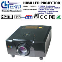 led cinema projector 1024*768 hdmi, with analog TV & 2200 lumens & multimedia interface & made in China
