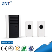 ZTP-83 2V1,white black,easy installation,two transmitters&one receiver,led indicator,current,mp3 piano musical wireless doorbell