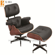 2015 Good Price Eames Lounge Chair Cowhide with Ottoman, High Back Wing Chair(NL-H011)