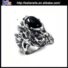 Fashion men's titanium 316L stinless steel stone ring designs for men