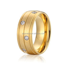 nice 8mm surgical stainless steel jewelry 18k yellow gold plated western wedding band thumb rings for women