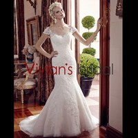 Grace High Scoop Neckline Cap Sleeve Backless Sheath Mermaid Lao Wedding Dress from China with Appliques WD358