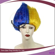cheap wholesale blue and yellow carnival big troll wigs