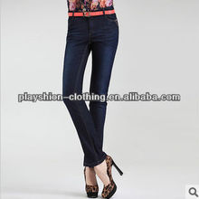 Autumn New Middle Waist Straight Leg Stretchy Ladies Jeans