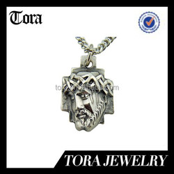 Silver Tone Sorrowful Crown of Thorns Head of Jesus Christ Cross Medal pendant necklace