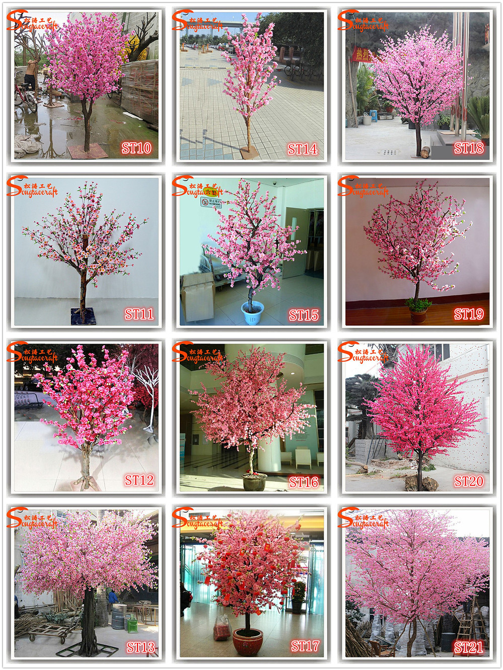 Artificial Pink Japanese Flower Cherry Blossom Fabric Bonsai Tree