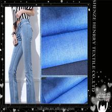 Washed denim fabric thin cotton denim super soft The color blue twill denim