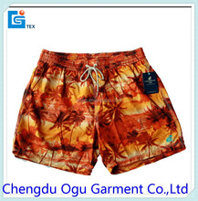 stylish quality 100% polyester men sex boxer swimming shorts