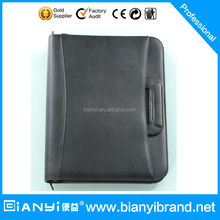 2015 Multi functional Soft A4 Magnetism leather portfolio with ring binders and retractable handle