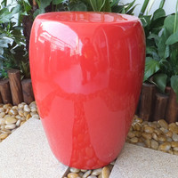 Red finished porcelain chinese garden stools