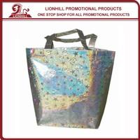 promotional custom design metallic pp woven shopping bag