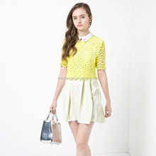half sleeve ladies lace tops blouses bright yellow fashion woman clothes 2015