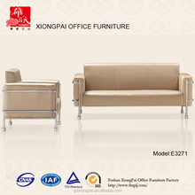 Factory Price High Quality stainless steel frame genuine leather sofa E3271