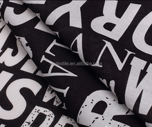 black and white cotton fabric/print with words/calico with English/from MaiXiang TEXTILE CO.,LTD