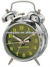 "3"" mechanical twin bell alarm clock with windup spring movement"