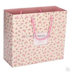 New design pink small broken flower art paper shopping bags wholesale bags