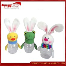 8'' Easter Cute Animal Gifts Candy PET Jar Indoor Fabric Decoration Standing Bunny Frog Chicken Toys