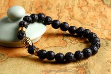 2015 black Lava stone buddha beads bracelet elastic charm bracelet Natural stone beaded bracelet
