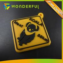 UPS & EMS Service Supply Custom Printed Logo On Backside 2D Embossed Australia Koala Cartoon Rubber Keychain
