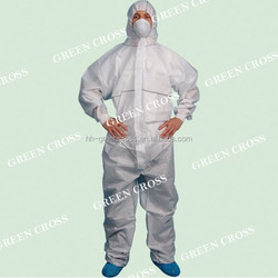 Anti- MERS, Blue/Yellow/White Disposable CPE impervious gown with thumb up