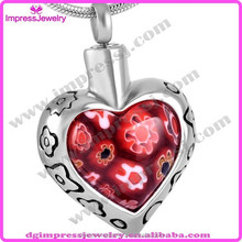 IJD8367 cheap wholesale high quality heart murano glass cremation pendant