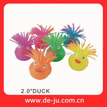 """2"""" Duck Animal Long Hair Lovely Spiky Rubber Ball"""