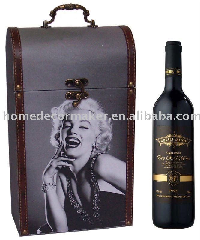 Vino de madera caja de 2 botellas y Marylin Monroe diseño de la impresión