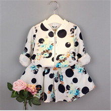 TG054 two colors wholesale clothing suits new arrival polka dot korean floral girl sets