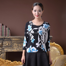 Ladies floral printed knitwear three quater sleeves beaded pullover sweater