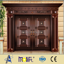 Zhejiang afol double and glaze copper construction door design