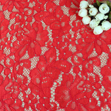 Low price vision red flower 100% nylon knitting lace fabric for ladies' dress as the trade assurance RK058