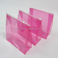 Hot-sale standing up heat seal customized colour plastic pvc zipper cosmetic packing