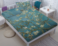 Van Gogh Almond bed three sets, children's bed sheets, double size bed three sets DIY Flower Bed linen wholesale custom DIY CD11