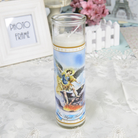 White VELA SAN MIGUEL ARCANGEL Religious Candles In Different Sizes Customize Color Map in Bulk