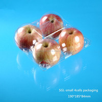 little sized clear plastic fruit box for four apples