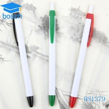 Promotional Cheap Pen/logo ball pen/white plastic pen with print