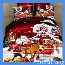 HOGIFT christmas bedding sets 4pcs duvet/5D quilt 100% cotton cover set/Santa Claus cover fitted sheet pillowcase
