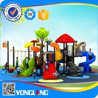 Plastic tube with swing set playground equipment