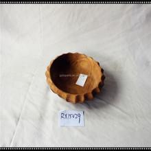 """Large Antique 12 inch diam. Wood / Wooden Bowl - Unique shape - Heavy 4"""" deep"""