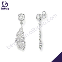 Delicate design clarity stone silver feather earrings
