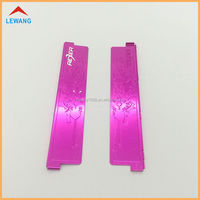 China Factory Custom Stamping Aluminum Scutcheon , Metal Anodized Red Plate with Stamping Logo