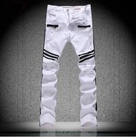 Wholesale stock male white patchwork hole skinny jeans men's biker black stripes denim hip hop washed cargo pants