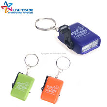 Portable small Multi color Hand crank LED flashlight with key chain